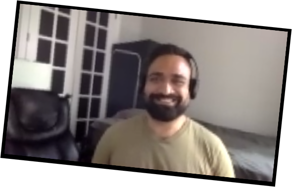 Darvinder via Zoom, from his home office in Brooklyn, NY