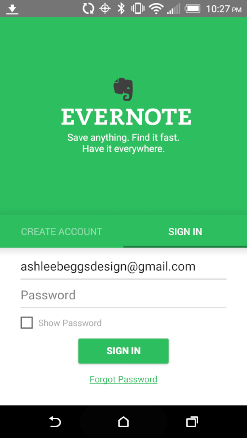 Evernote preserves login information when toggling between creating an account or signing in.