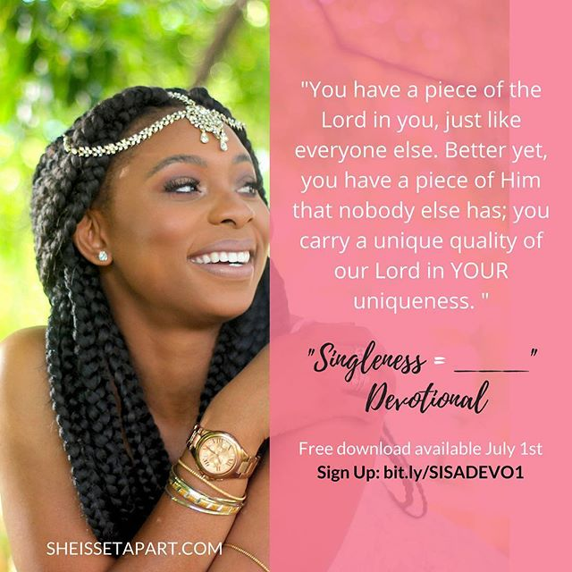 """Happy Thursday Ladies! . Here's a throwback to a quote from our devotional— """"Singleness=______"""". . Have you checked it out yet? . If not visit the link in the bio to receive a free copy. . Have a blessed Thursday! . #sheissetapart 📷: @crystalotv"""