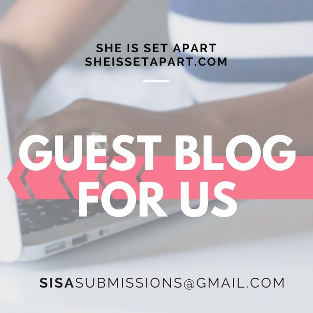 "Happy Tuesday! . Are you interested in guest blogging for She Is Set Apart?  We are currently accepting new submissions . Head over to our website and click the ""write for us"" tab for more info! . .  #sheissetapart"