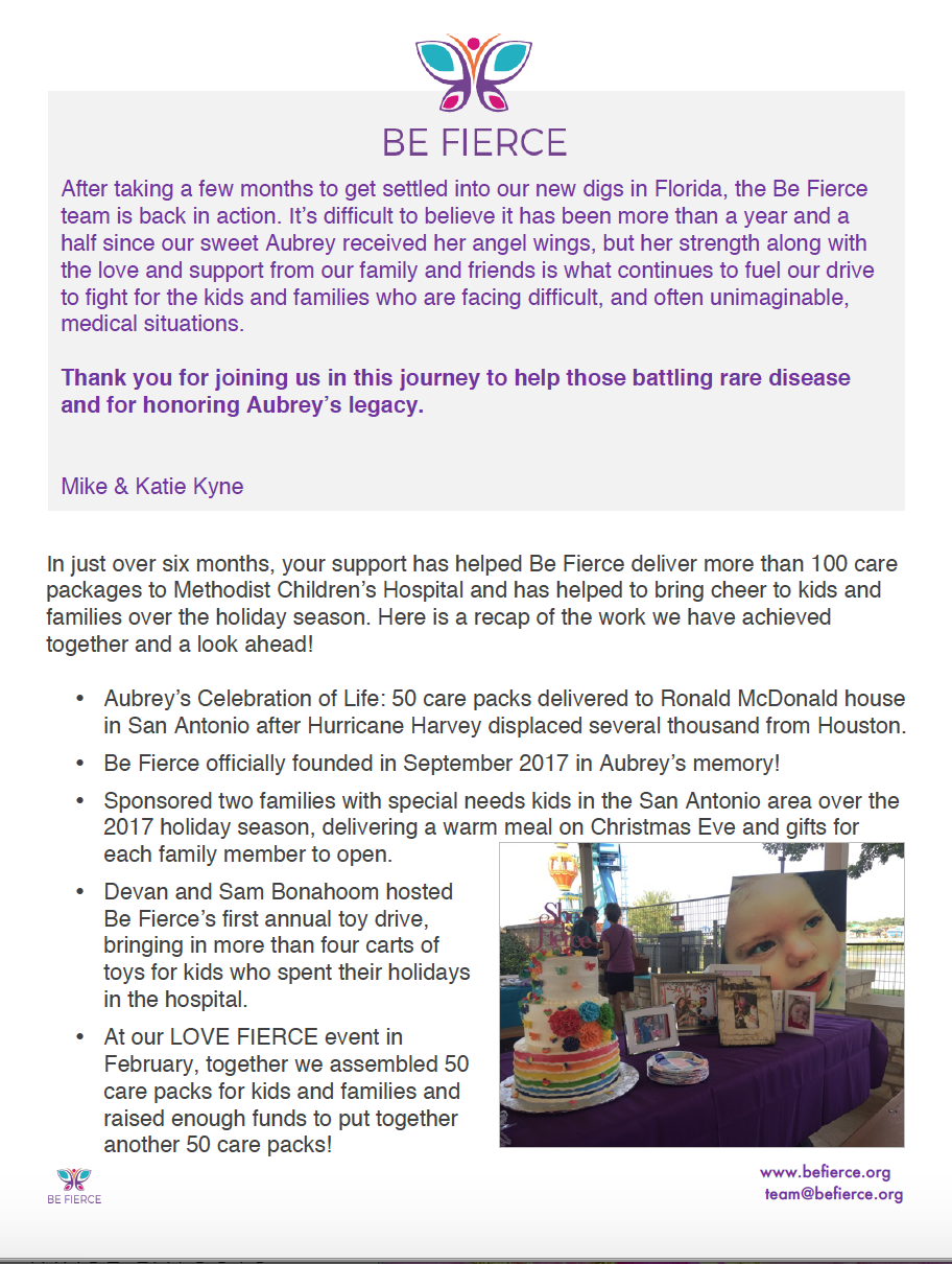 Thank you for your support.  - Click on the letter to the left to hear more about how your support has helped children and families ... and to learn about what the BE FIERCE team has planned.