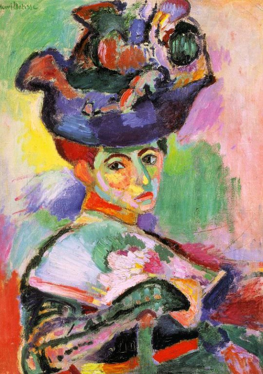 Henri Matisse's  Woman With A Hat , 1905. Its visible brushstrokes and strange color choices give it a unique style that only a painting could produce.