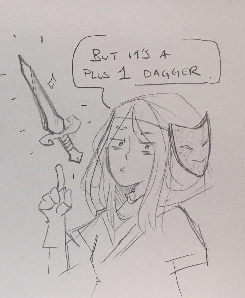 …But it's a plus 1 dagger   Art by the amazing  @ NatRoze  . Tumblr:  weirdsisterscomic.tumblr.com