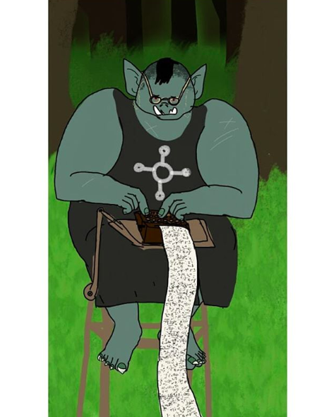 An orc stenographer  by @ goublegecker