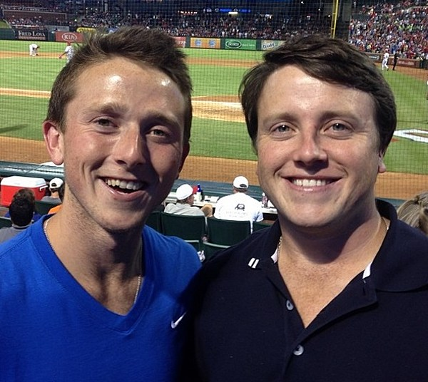 Brent and his brother, Evan, at a Texas Rangers game