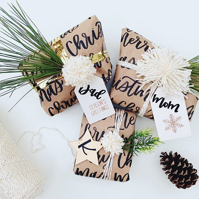 These hand lettered gifts are so pretty that I may not even let my family open them 🤷🏼♀️ jk, we'll open these special ones on Christmas Eve! New blog post is up: our Christmas Traditions! Link is in my bio! . . . . . . #moderncalligraphy #houstoncalligrapher #creativeentrepreneuer #typography #christmasgifts #giftwrap #handletteredwrappingpaper #craftpaper #merrychristmascalligraphy #blogger #lifestyleblogger
