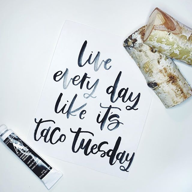 Well it is soooo... 🤷🏼♀️ broke out the good 'ole watercolors and I had so much fun 😂🖤 . . . . . . #modernlettering #modernhandlettering #handletteredwords #tacotuesday #moderncalligraphy #houstoncalligrapher #artsyfartsy #blackwatercolor #alwaystacos #moderntypeface #watercolorcalligraphy