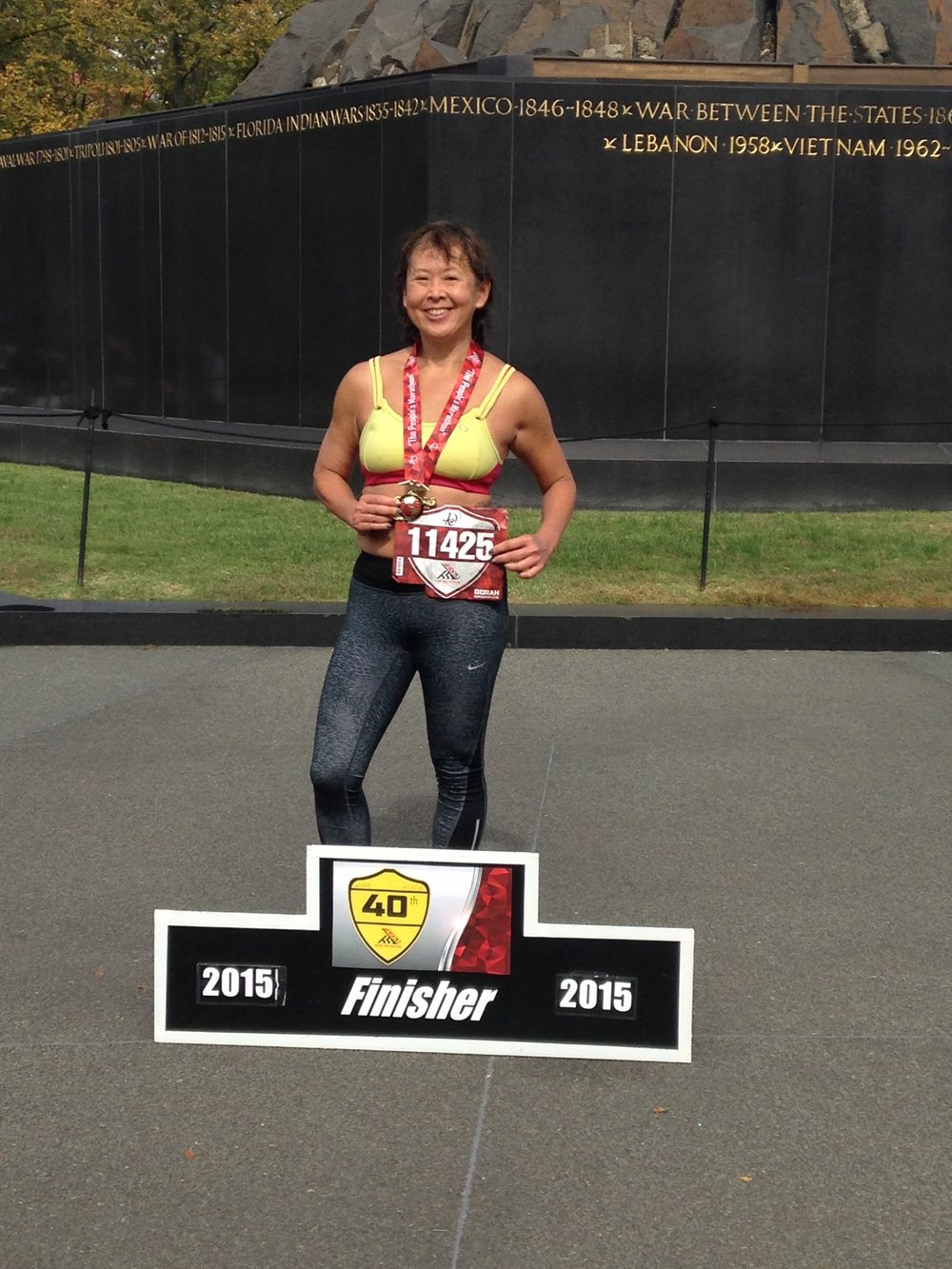 Happy Finisher at Marine Corp Marathon