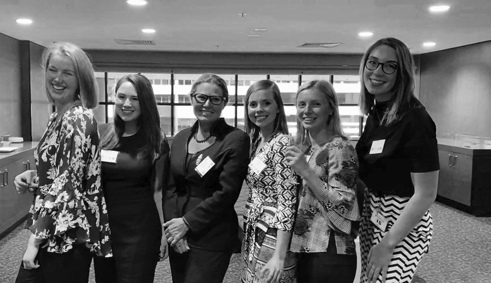 Current WILO committee members Ruth Parsons, Tiffany Wilken, Mara Lejins, Amber Barney and Phyllida Behm with Justice Chrissa Loukas-Karlsson at our end-of-semester event in 2018.