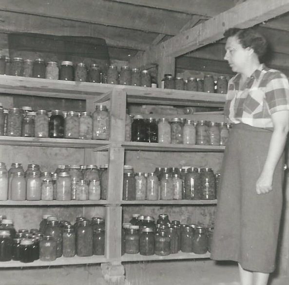 Claire's Grandmother (Nana) with her cans put up for winter