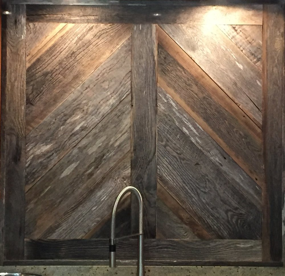 Custom Reclaimed Kitchen Backsplash
