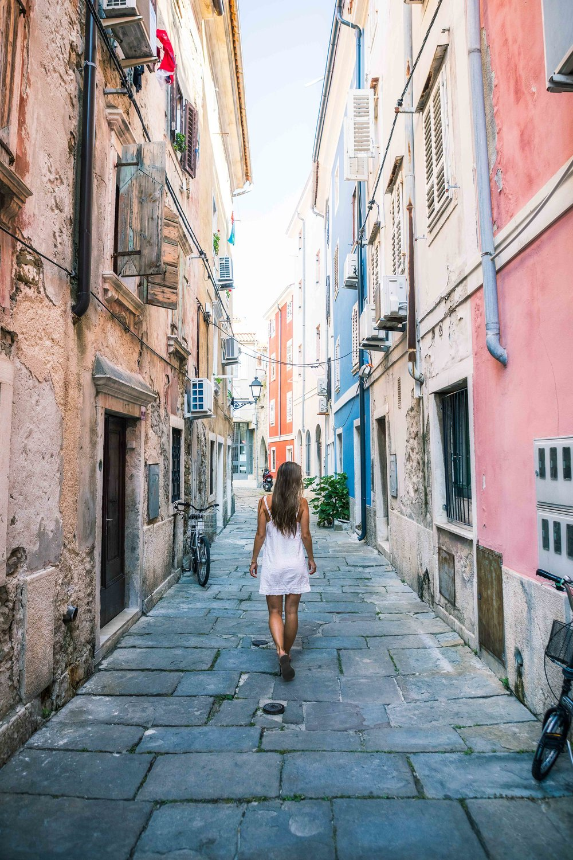 Andrea walking the streets of Piran Slovenia by Michael Matti.jpg