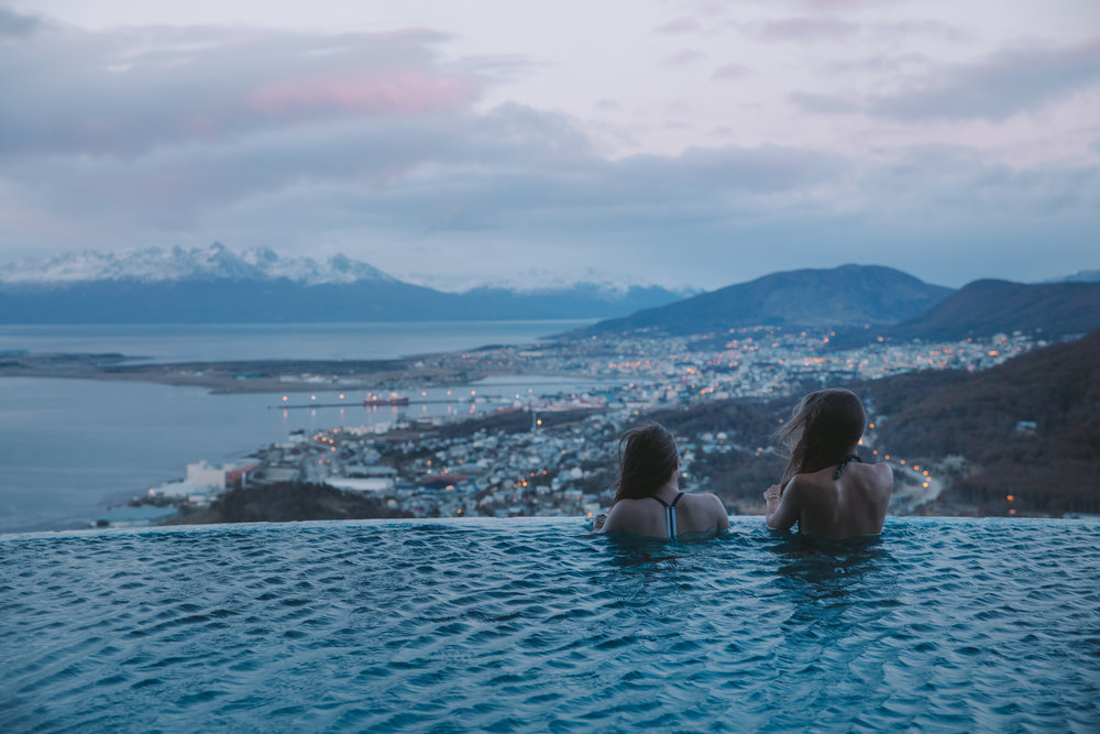 Carrie and I catching our first sunrise the end of the world from the infinity pool at the Arakur Hotel in Ushuaia.