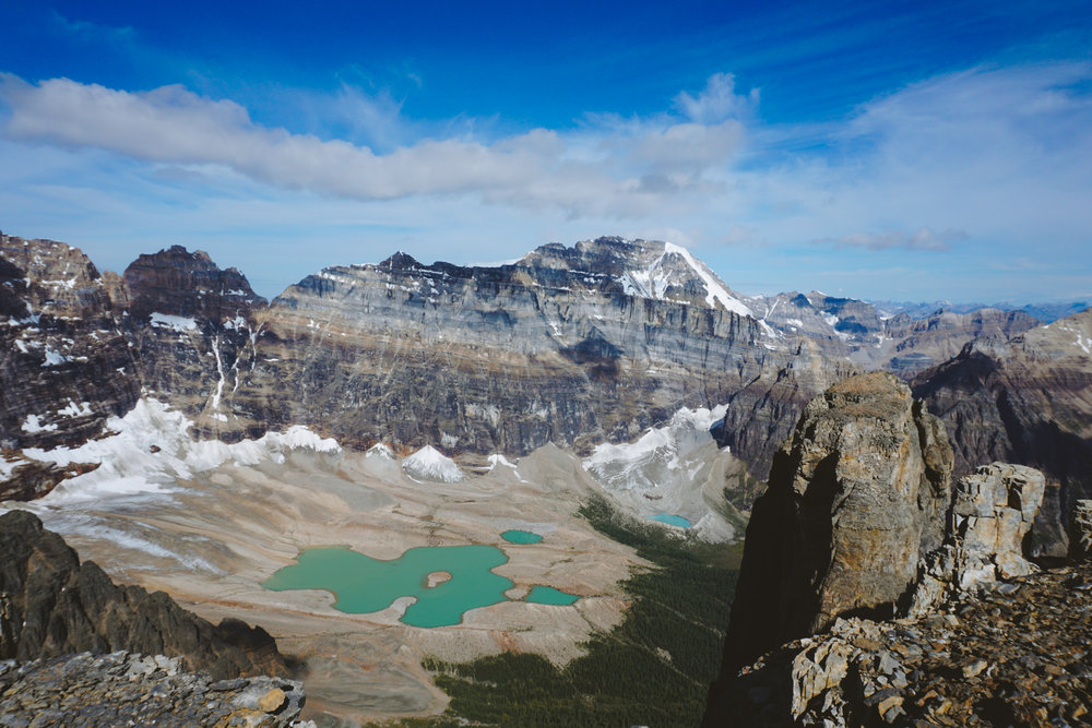 Horseshoe Lakes and Paradise Valley from the summit of Eiffel Peak.