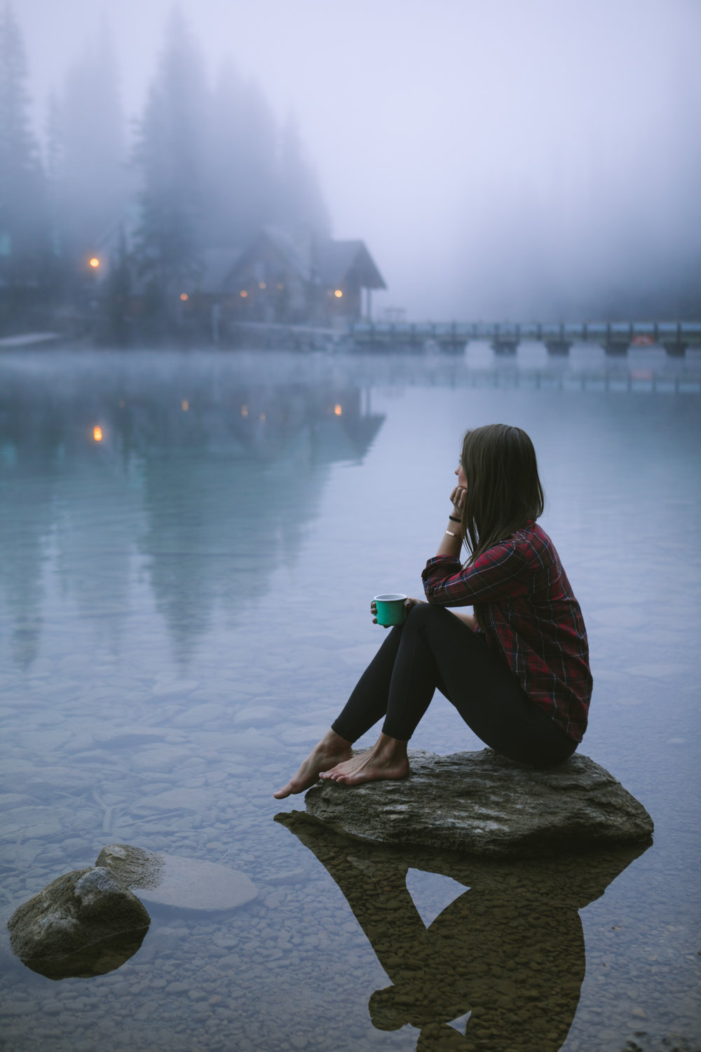 A foggy morning coffee along the Emerald Lake shoreline. photo / Michael Matti
