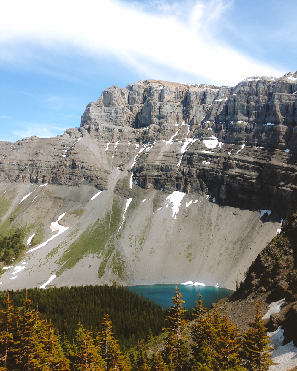 Looking down on Bourgeau Lake from the hike up to Harvey Pass
