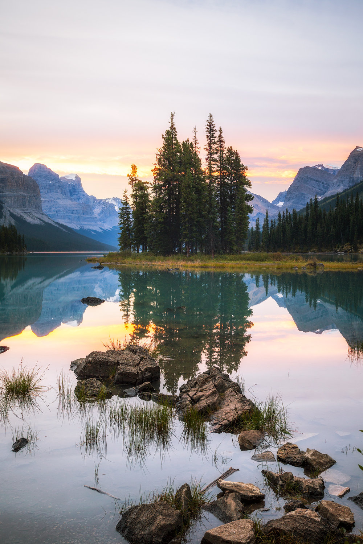 Spirit Island on Maligne Lake in Jasper at sunrise by Michael Matti.jpeg
