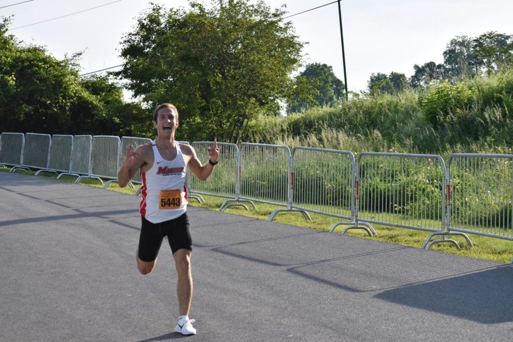 Stefan Morton, class of 2017, finishing first in the Walkway 5K in a time of 14:59