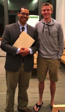 Marist Circle reporter, Brian Edsall,  with Dr. Peraza