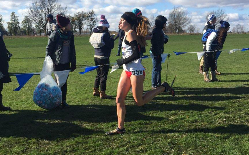 Freshman Gianna Tedeschi, finishing 1st overall for Marist and 50th overall at the NCAA D1 Northeast Region Championship - photo via Pete Colaizzo