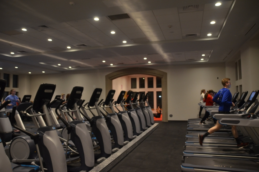 Students work out in the new Fitness Center in Building D