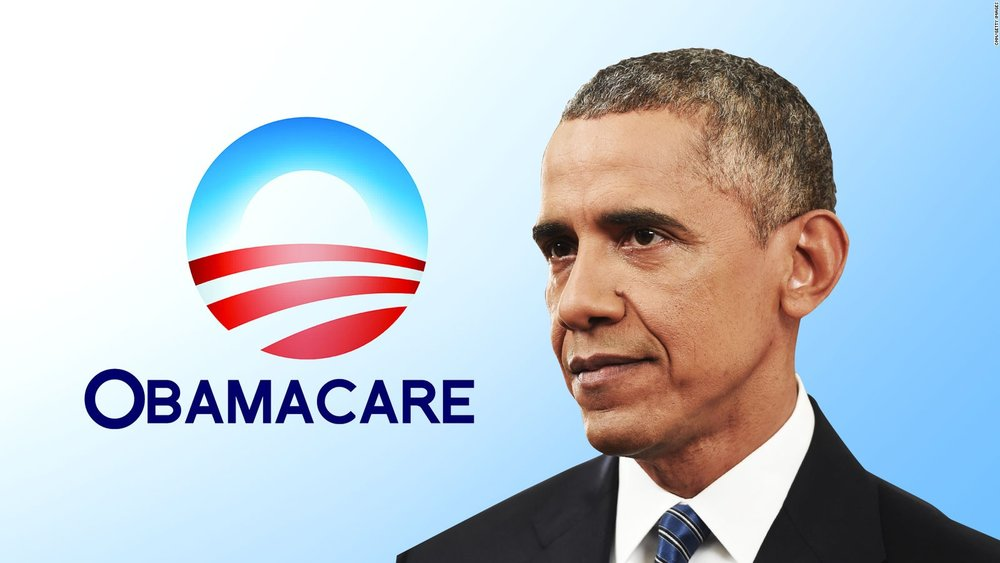 Former President Barack Obama, featured alongside 'Obamacare' logo -  Photo courtesy of CNN