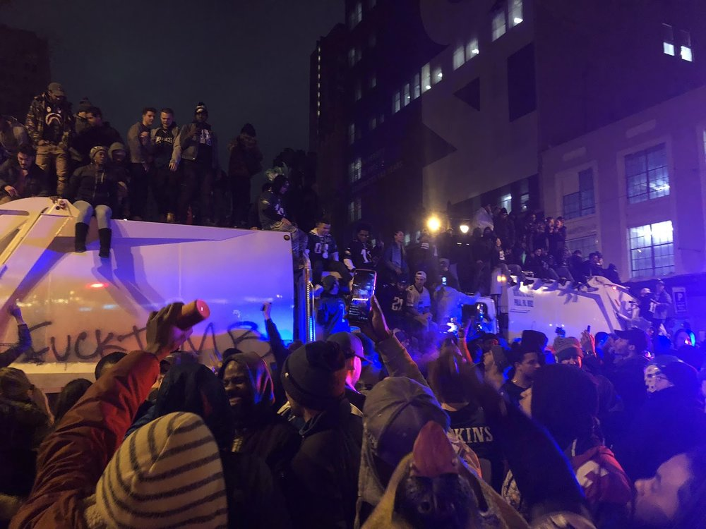 The Superbowl riots commence. Photo Courtesy of Michael Conway.