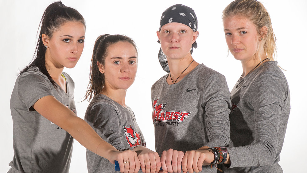 (From left to right) freshman Gianna Mastromatteo, junior Kerry Gaye, senior Jenna Robinson and sophomore Denise Grohn.  Photo courtesy of Marist Athletics.