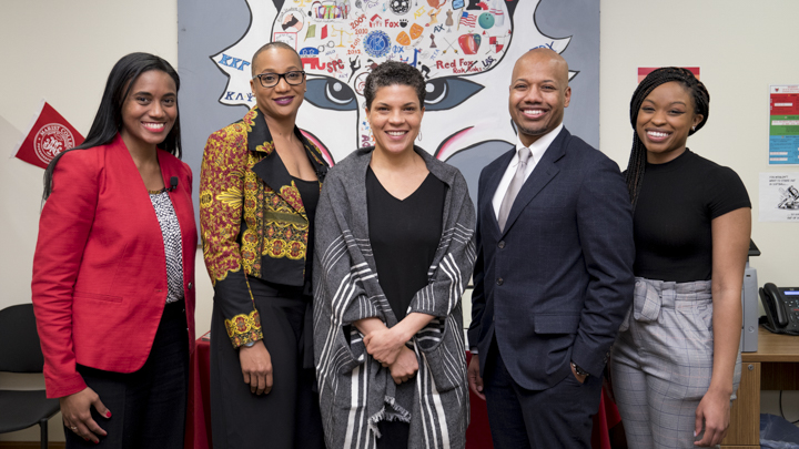 (From left to right) Assistant Professor of Psychology Jocelyn R. Smith Lee, Assistant Professor of Public Administration Tia Sherèe Gaynor, guest speaker Michelle Alexander, Assistant Professor of Criminal Justice Addrain Conyers, and Bryanna Adams '17.  Photo Courtesy of  Marist College .