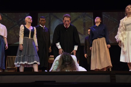Pictured: The cast of Arthur Miller's The Crucible, during a pivotal scene. Photo courtesy of Brian Bocanegra.