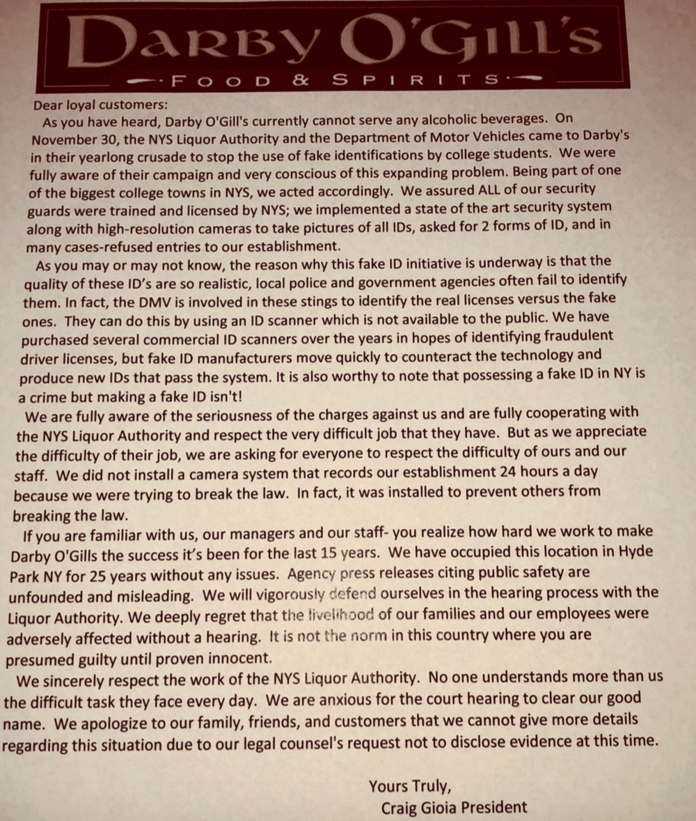 Press release issued by Darby O'Gills president, Craig Gioia, Thursday evening.