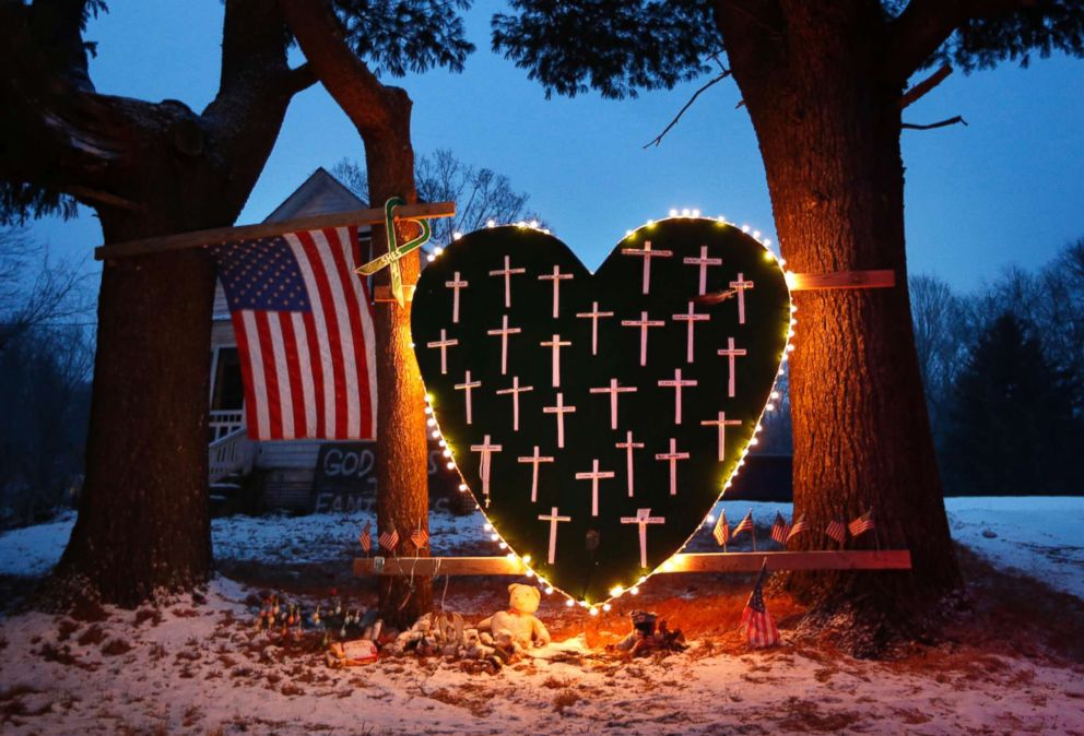 Photograph of a Sandy Hook Memorial, Courtesy of ABC News.   https://abcnews.go.com/US/remembering-sandy-hook-elementary-school-shooting-victims/story?id=51566826