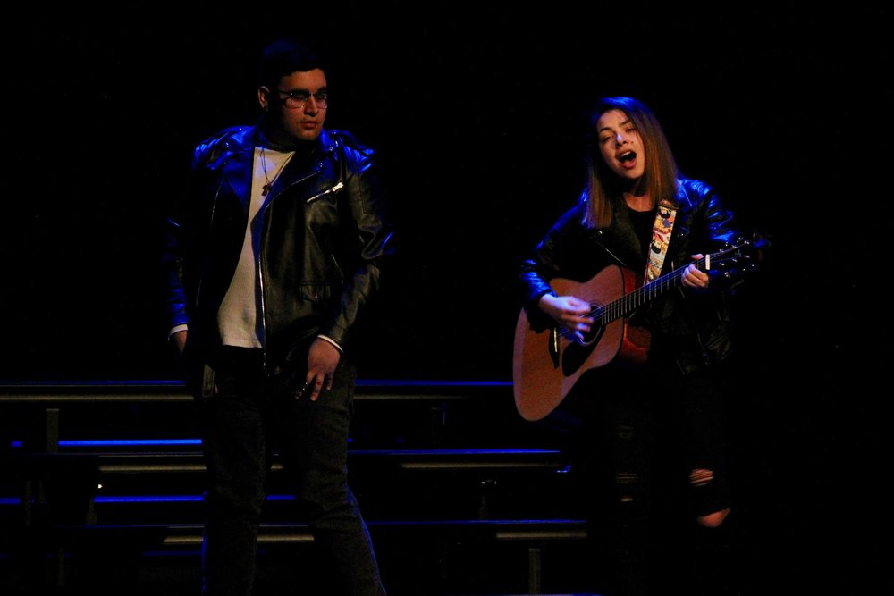 "Justin Camero and Raquelle Rocco perform ""Shallow"" from film ""A Star is Born"". Image courtesy of Emily Jones, '19"