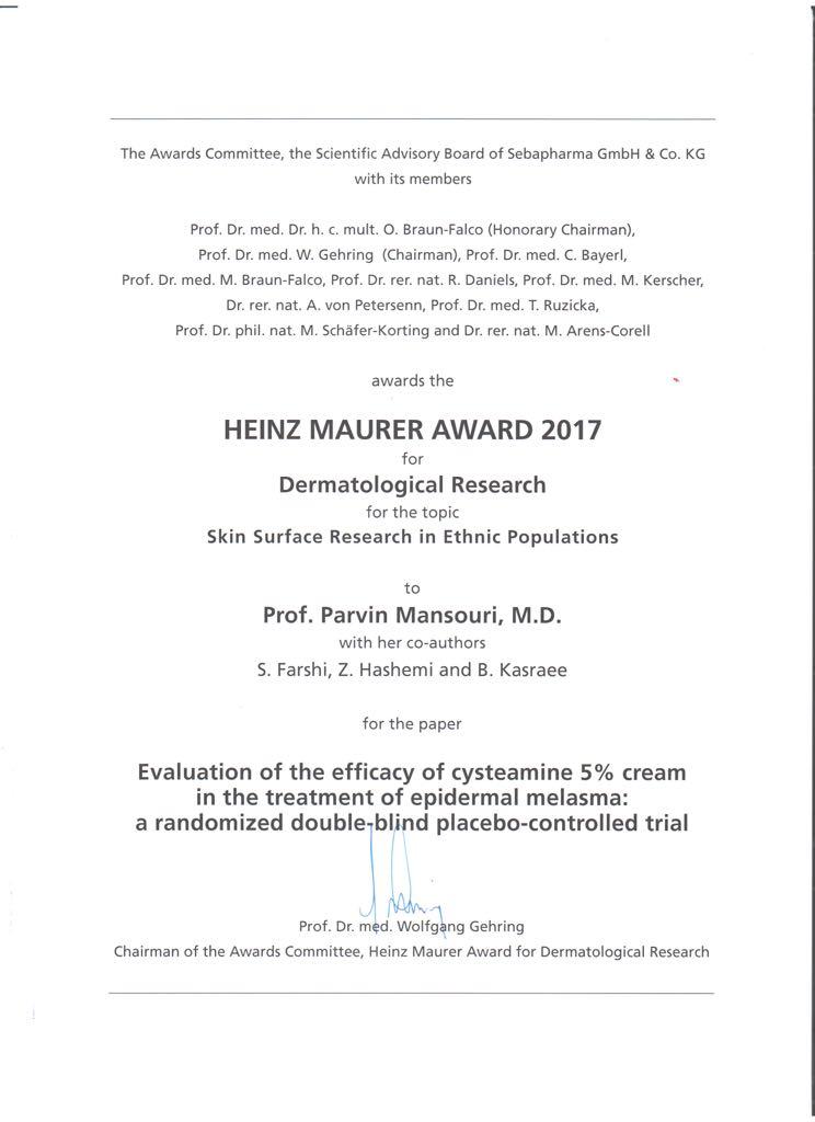 Cysteamine BJD Heinz MAURER AWARD 2017