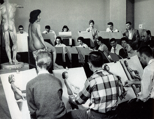 Life Drawing Classroom at the American Academy of Art early 1950's.