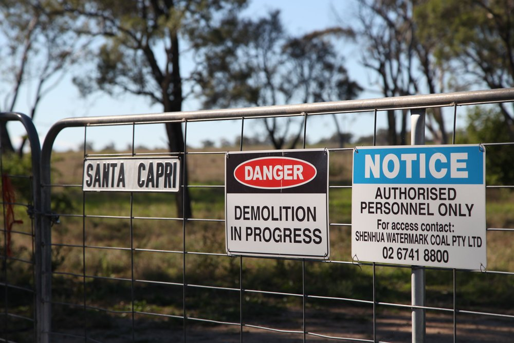 Shenhua coal project sign on a farm gate at Breeza on the Liverpool Plains.