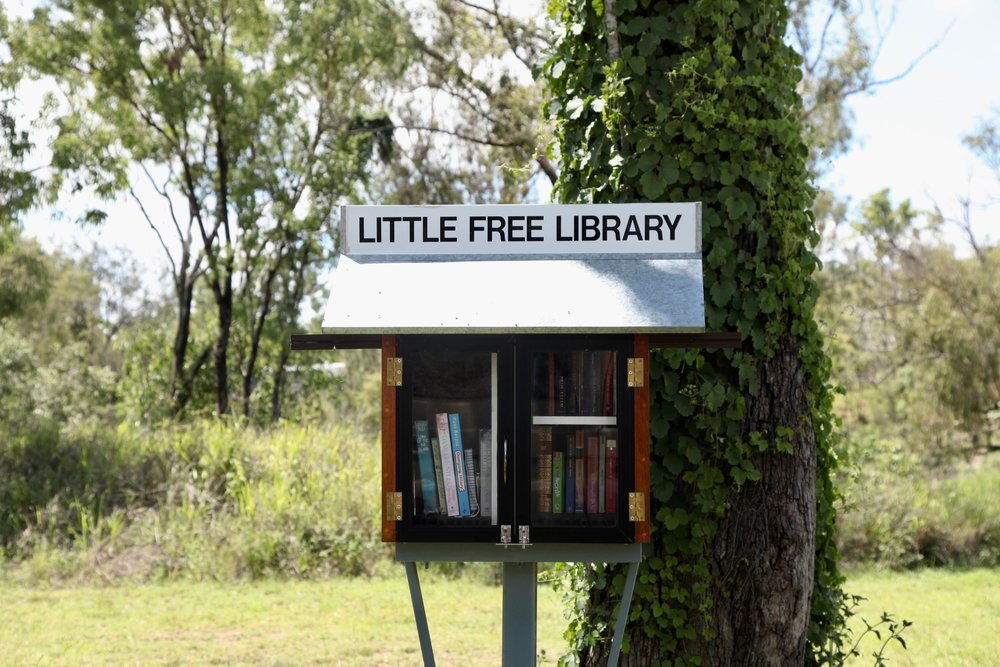 A great initiative—'Little Free Library'—under a tree by the river just out of Petford.