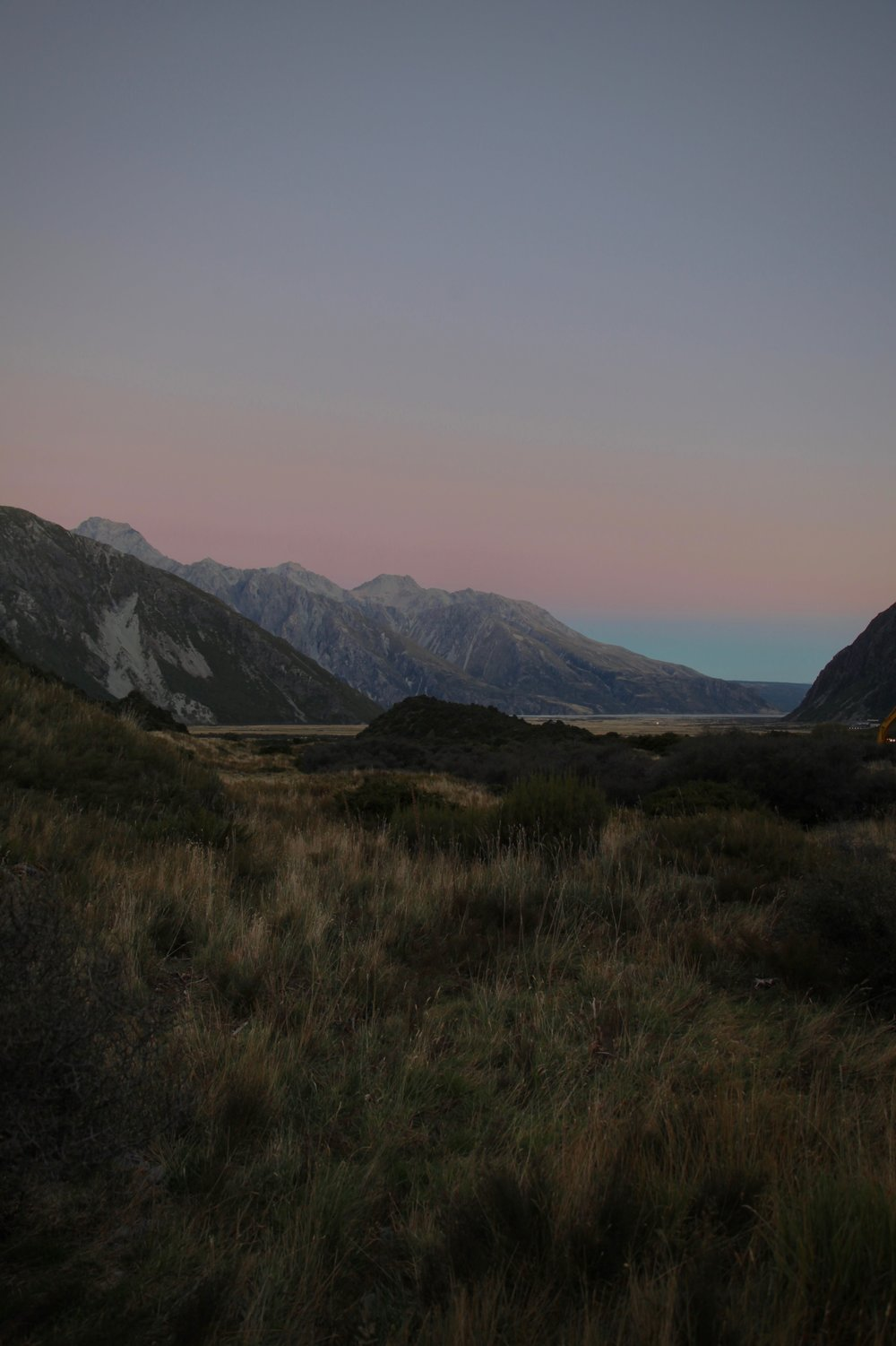 A pink sunset in Aoraki Mt Cook National Park.