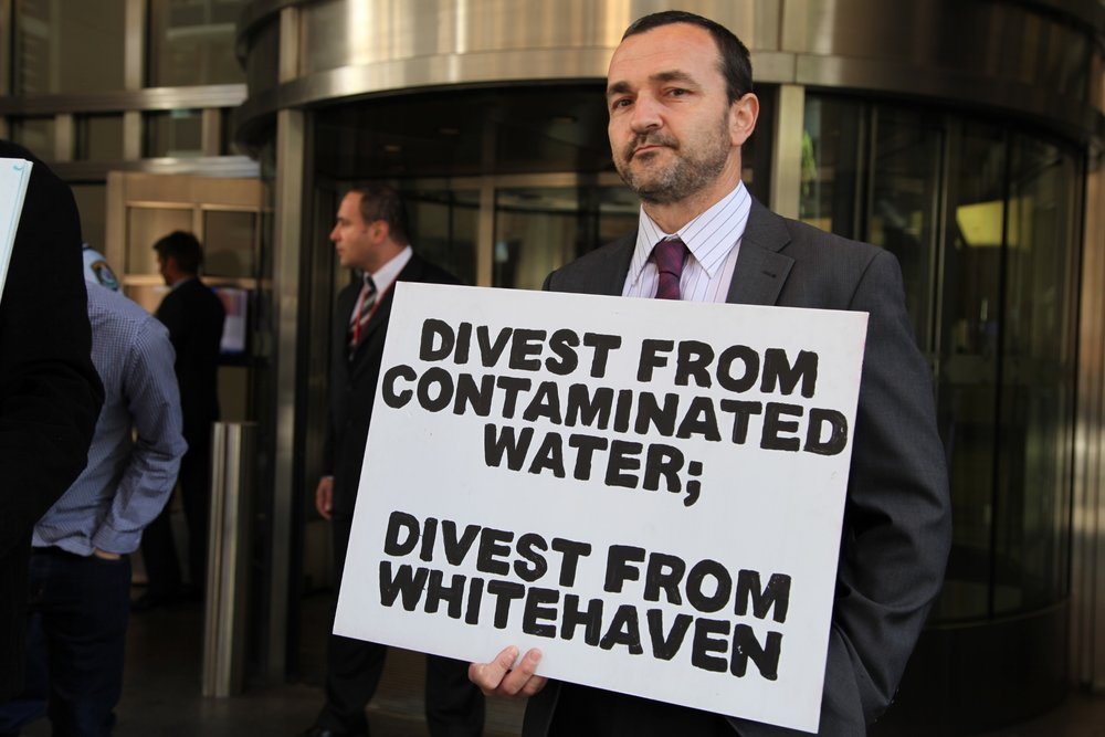 These protest signs were used on the frontline in Leard Forest, and outside the Whitehaven Coal company AGM in the city.