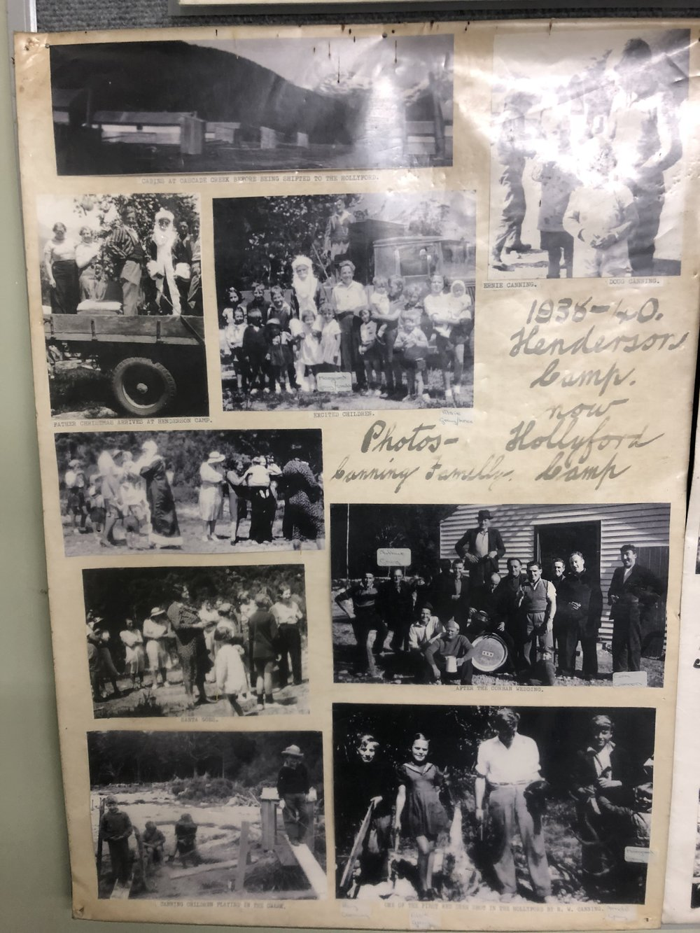 Photos and poems on the wall of the communal kitchen and lounge cabin at Gunn's Camp tell of the history of the site.