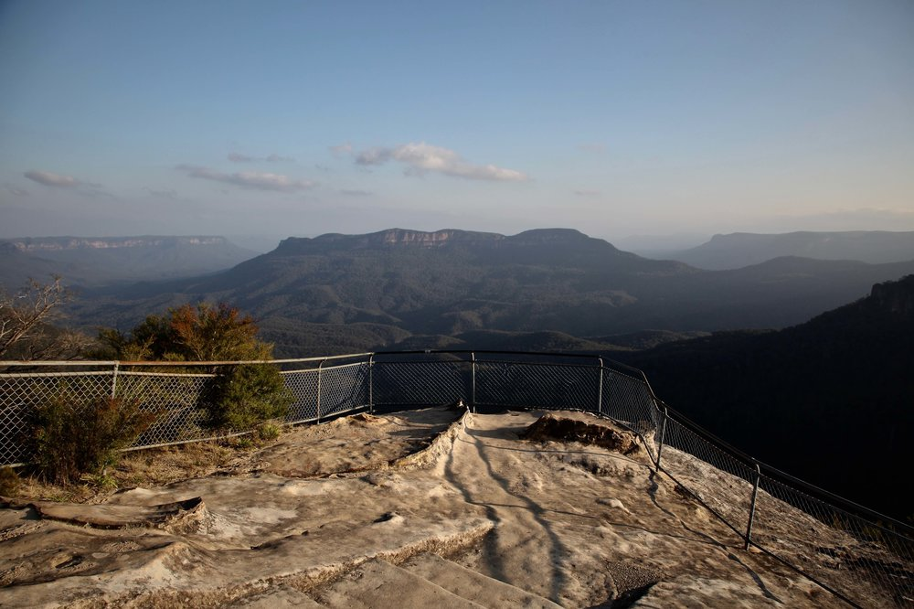 The view of Mount Solitary from Olympian Rock lookout at Leura in the Blue Mountains.