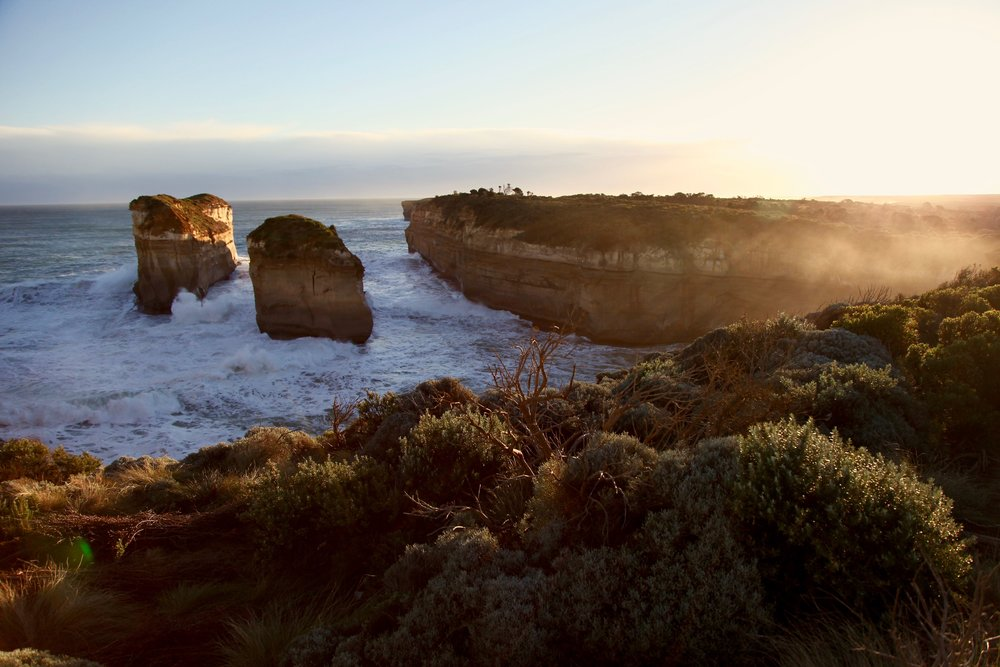 Sunset at Loch Ard Gorge on the Great Ocean Road in Victoria, Australia.