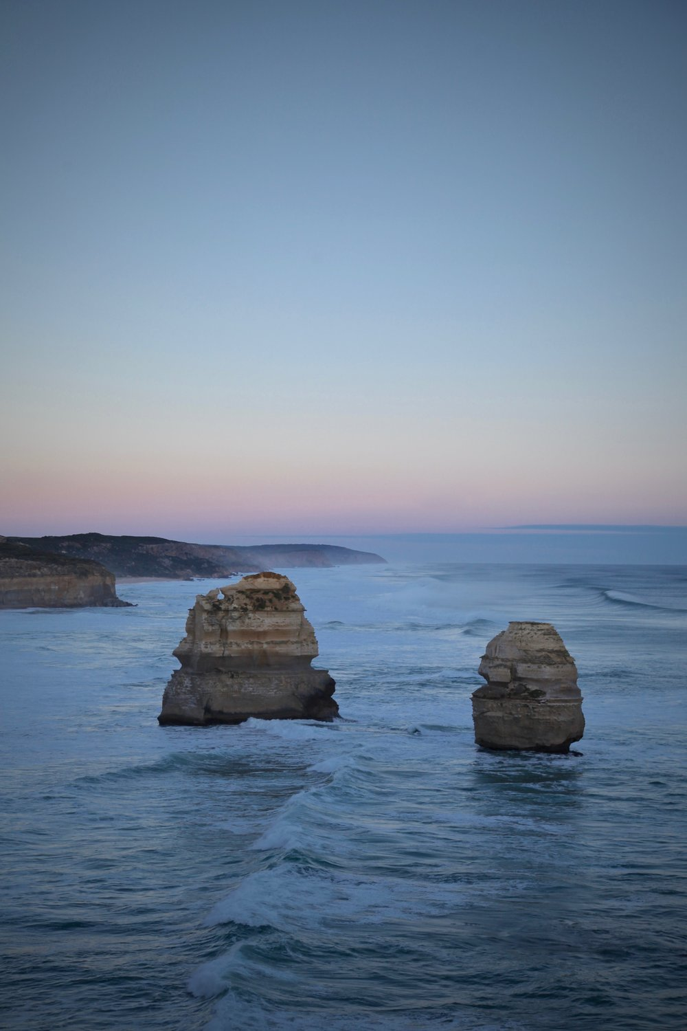 Pastel sunset over the southern coastline on the Great Ocean Road.