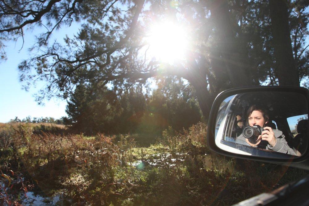 Car window self-portrait, on the road to Quirindi.