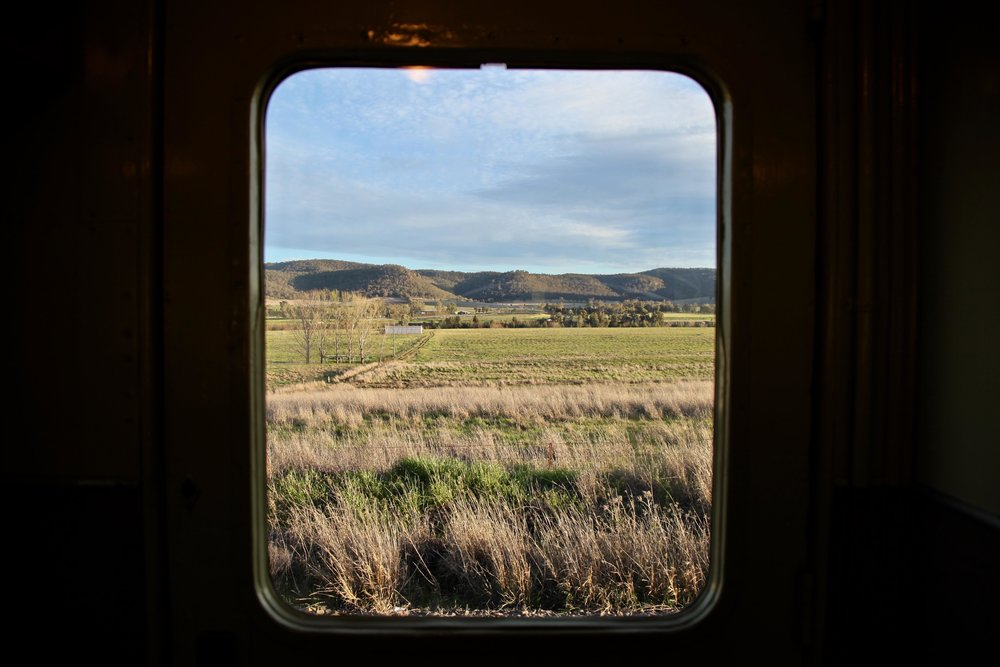 The Hunter Valley through the window of the heritage train, earlier in the day.