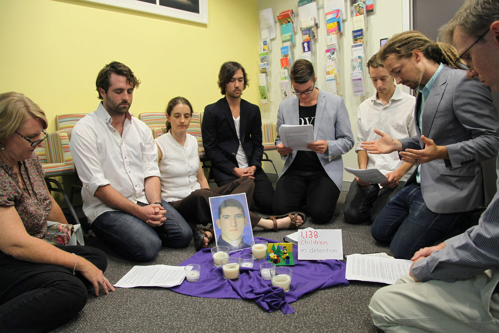 Love Makes A Way prayer sit-in at the office of Scott Morrison, the then Immigration Minister.