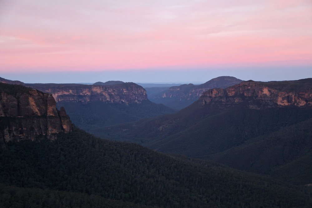 Govetts Leap at sunset