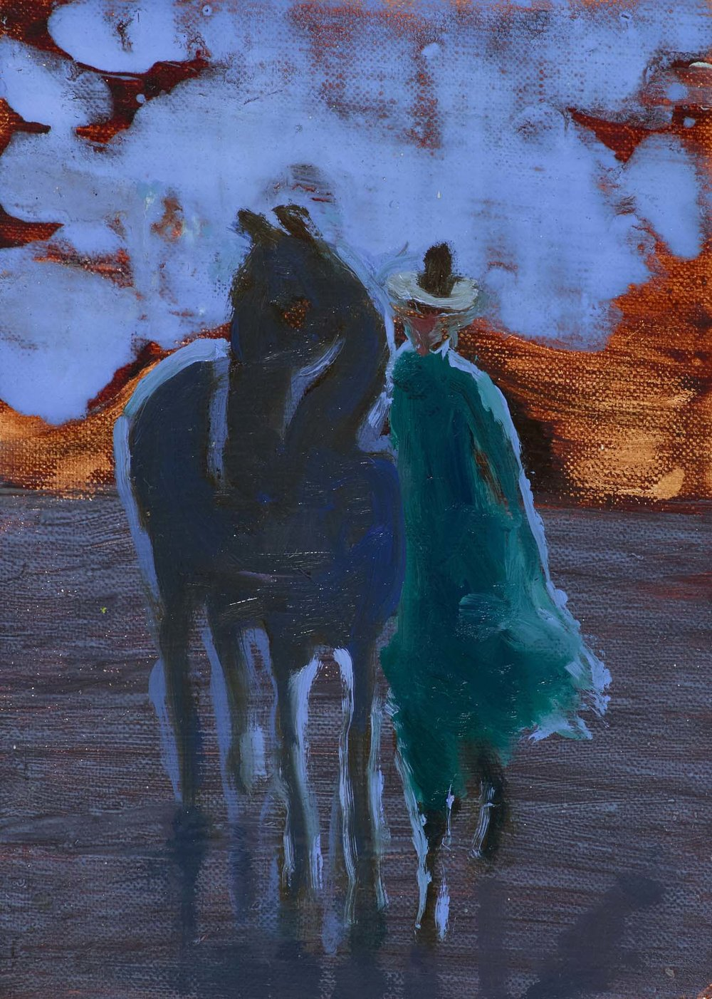 dusk by the sea figures 16x12cm oil on board.jpg