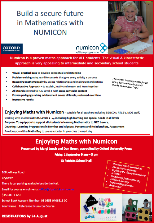 Numicon - CPA Maths have considerable experience using Numicon. We work closely with Numicon NZ promoting Numicon as whole-school concrete manipulative.