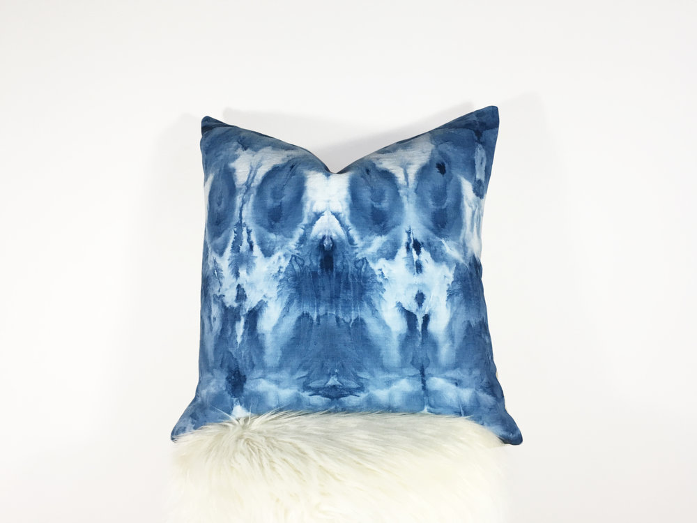 KSDesigns LLC- For the Love of Indigo hand-dyed, handmade pillow-front.jpg
